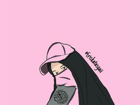 gambar kartun muslimah bercadar membawa al quran kartun