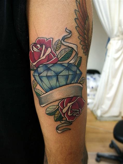 roses diamond ribbon tattoo ribbon tattoos tattoos