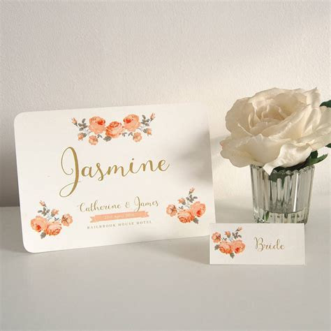 'classic' rose garden table name and guest place cards by