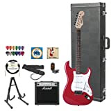 Starcaster by Fender JF-028-0002-509-KIT-4 Red Electric Guitar with Stand, Strap, Strings, Hard Case, DVD, Tuner...