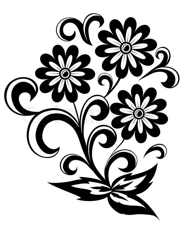 Flower Vector Black At Getdrawingscom Free For Personal Use