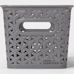 12 Medium Y Weave Rectangle Storage Bin Gray - Room Essentials