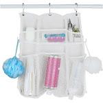 Evelots Mesh Shower Caddy-6 Pocket-Hook for Brush-Hole for Bottle-Dry Fast-Set/2, White