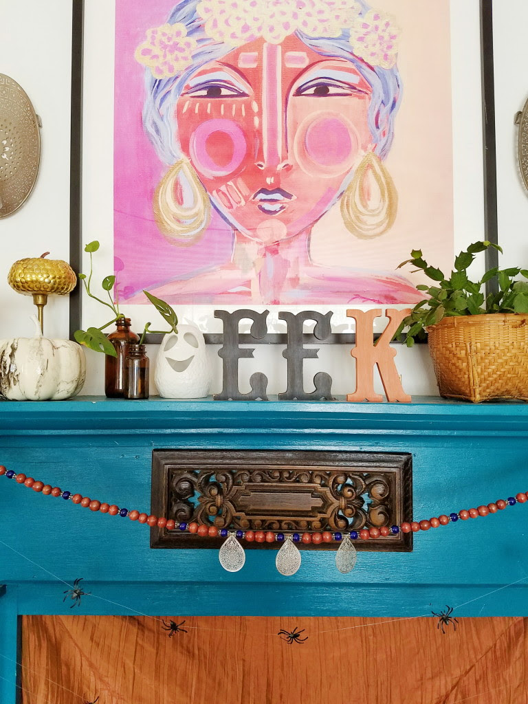 Colorful Eclectic Halloween Fireplace Mantel
