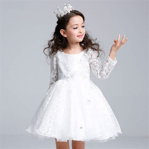 Birthday White Girls Dress Long Sleeve Flower Girl Vestido
