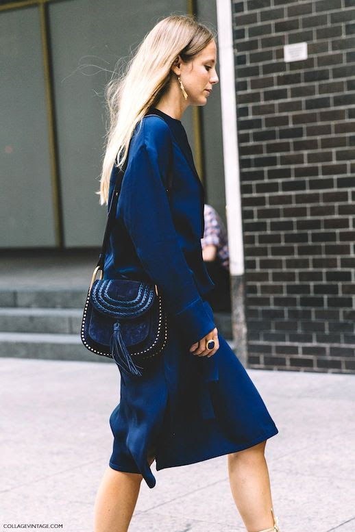 Le Fashion Blog Street Style Jennifer Neyt Nyfw Over The Knee Blue Silk Dress Black Chloe Tassel Saddle Bag Tan Lace Up Flat Sandals Via Vintage Collage