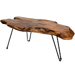 StyleCraft Natural Wood Edge Teak Coffee Cocktail Table Clear Lacquer Finish by VM Express