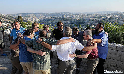 """Dancing during a visit to Jerusalem, a significant part of the program for the group of """"first-timers"""" to Israel."""