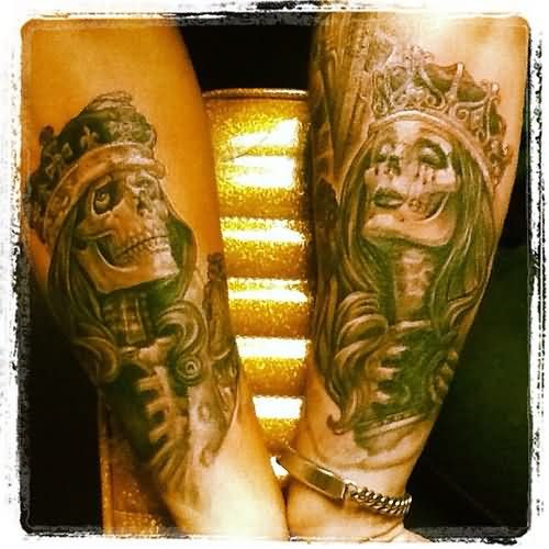 Grey Ink King And Queen Tattoos On Arm Sleeve