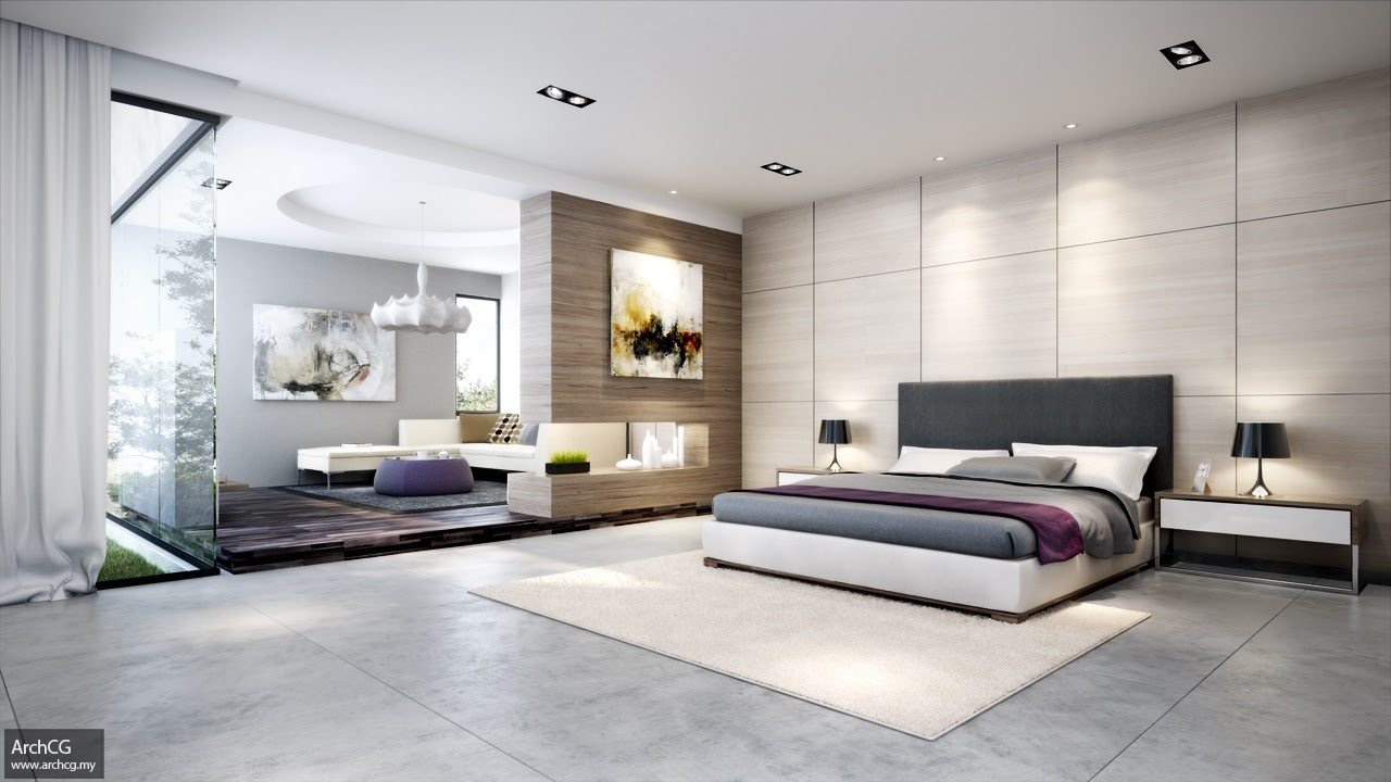 modern bedroom arrangement