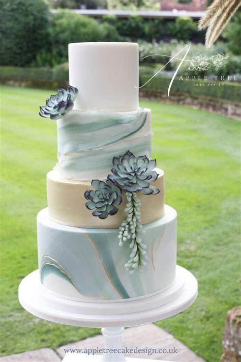 'Jade' A contemporary wedding cake decorated with sugar