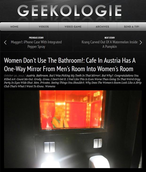 Enquanto mulheres veem seu próprio reflexo, homens podem 'espionar' o outro banheiro (Foto: Reprodução/Geekologie)