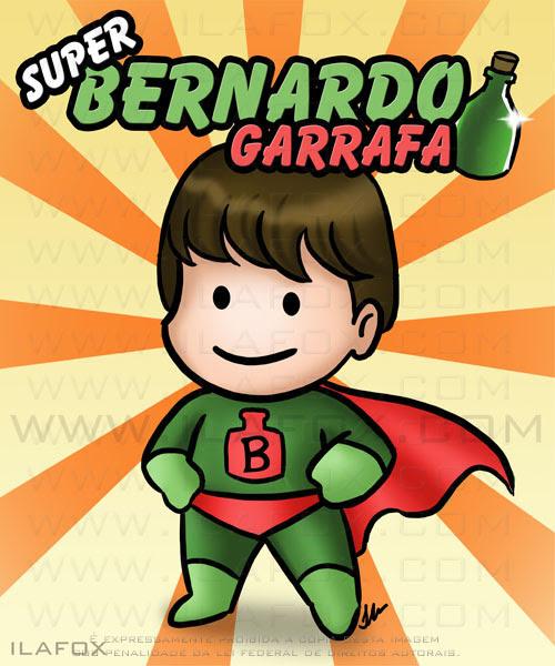 Desenho, caricatura fofinha, Bernardo Garrafa, ilustração by ila fox