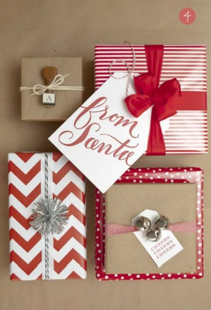 Christmas wrapping inspiration - I love that every gift is wrapped differently but they all look great together.