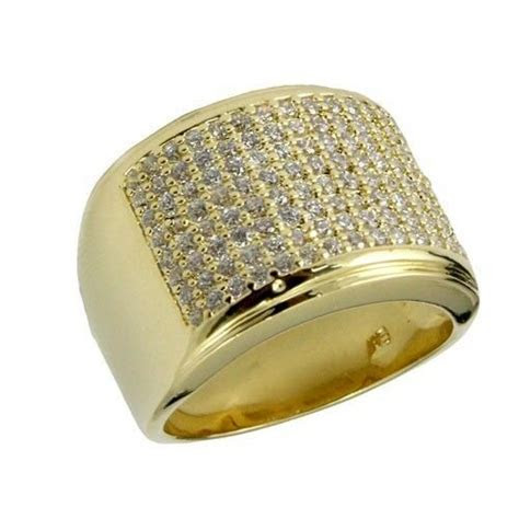 New! Iced Out 14K Gold Finish Lab Diamond Hip Hop Pinky
