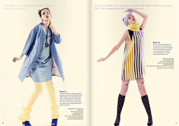 Hight fashion editorial, Blue and Stripes. Le Magazine Issue 3, All The Colours Of The Rainbow