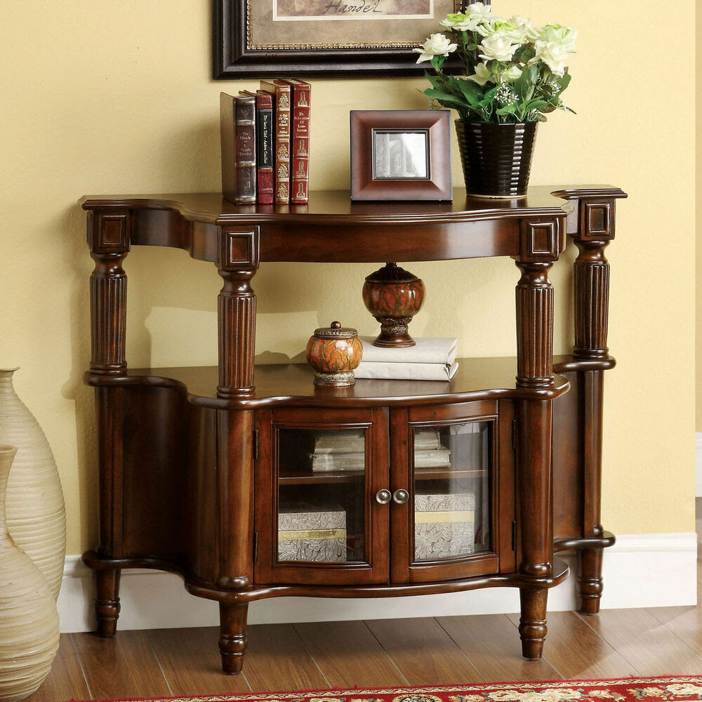 Furniture of America Georgia Classic Antique Walnut Entryway Table Home Decor  eBay