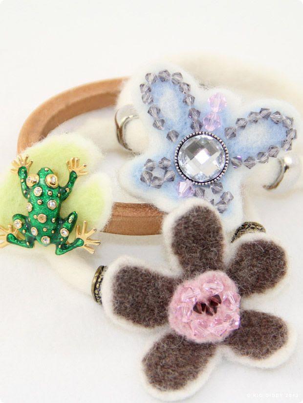 Kid Giddy Felted Flower Butterfly Frog Bracelets made with Cousin Jewelry photo CousinsSlideBraceletsByKidGiddy1_zps22cc678c.jpg