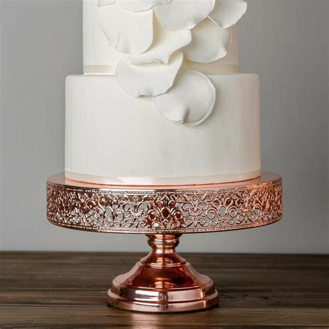 12 Inch Rose Gold Plated Wedding Cake Stand Round Metal