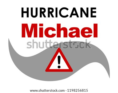 An graphic illustration of Hurricane Michael with text. Hurricane Michael was a tropical storm that formed in October 2018 in the Caribbean, that approached Florida in the United States.