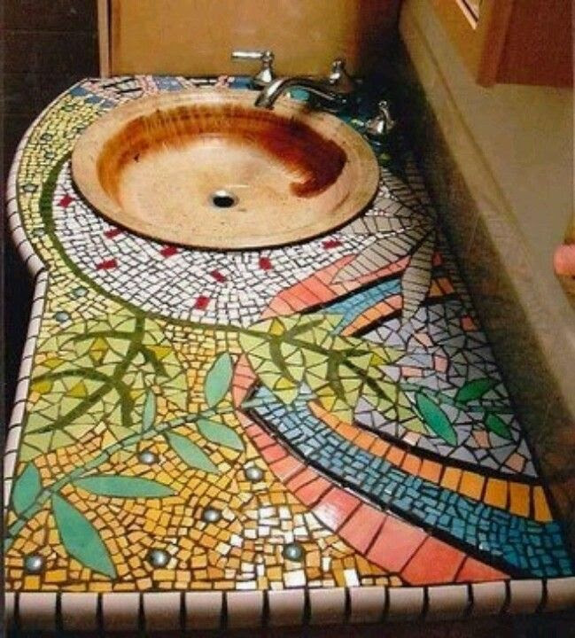 Mosaic vanity counter Love this handmade basin too.    We're going to be moving soon and I plan to make a counter top something similar -- I've done 2 somewhat plain ones -- now it's time for adventure.