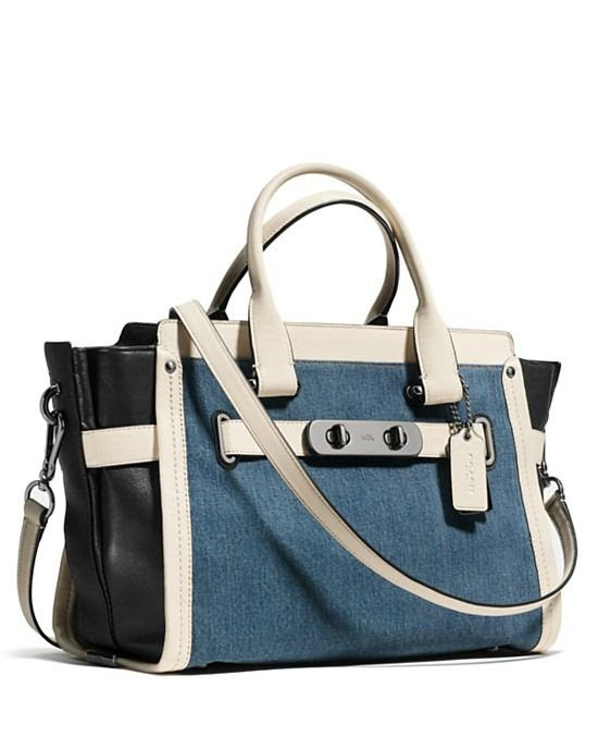 Coach Swagger Satchel in Denim Colorblock