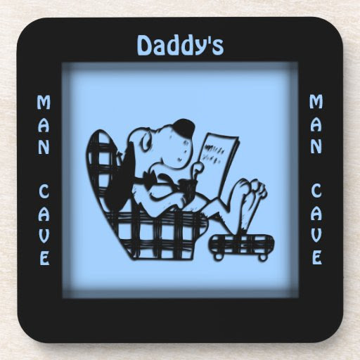 Daddy's Man Cave Blue Square Coasters