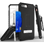 BLACK/BLACK TRI-SHIELD RUGGED CASE with KICKSTAND and CREDIT CARD WALLET SLOT + BELT CLIP HOLSTER + LANYARD STRAP FOR APPLE iPHONE 7/8 PLUS +