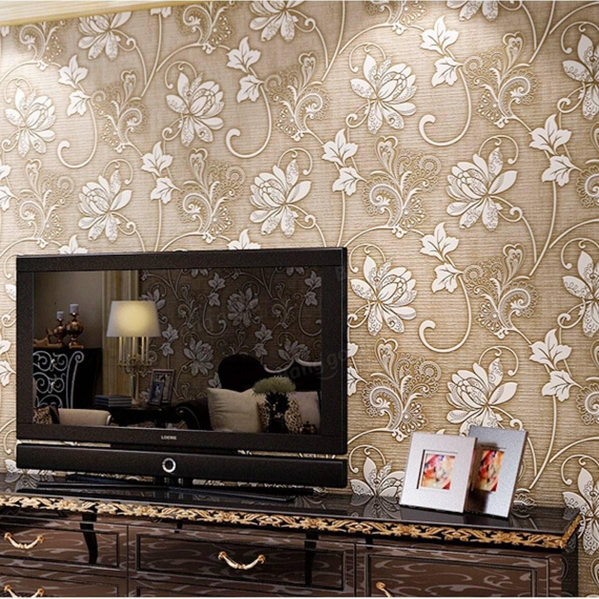 3d Victorian Damask Embossed Wallpaper Rolls Feature Tv