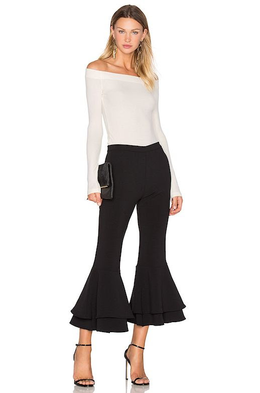 Le Fashion Blog Under $200 Cropped Flare Double Ruffle Pant Via Revolve Clothing