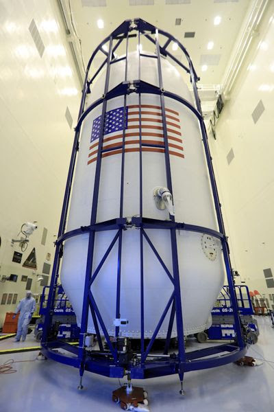 NASA's TESS satellite is now encapsulated within the payload fairing of SpaceX's Falcon 9 rocket at Kennedy Space Center in Florida...on April 9, 2018.