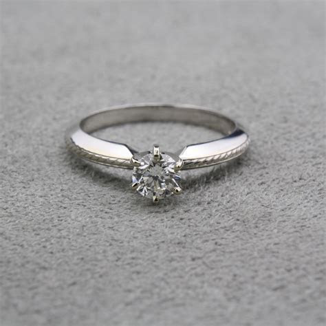 Pre Owned Knife Edge Diamond Engagement Ring