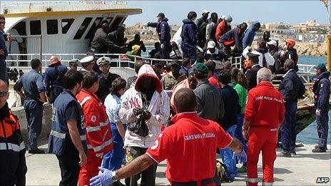 Immigrants arriving on the island of Lampedusa, off the coast of Sicily