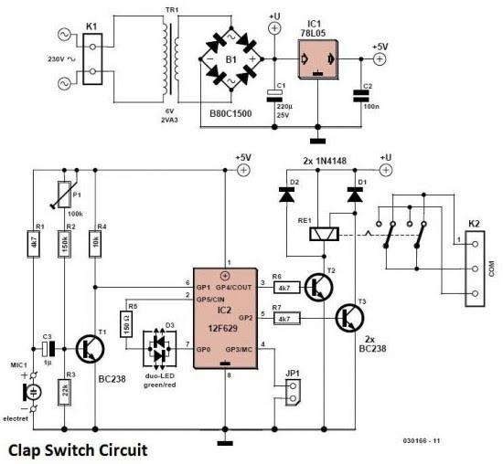 Rwandatechnician com: Clap Switch circuit diagram