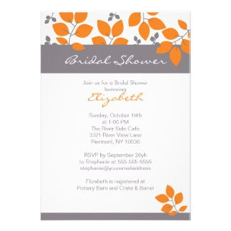 Stylish Orange Leaf Fall Bridal Shower Invite
