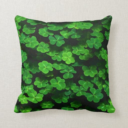 Field Of Green Shamrock Clover Pillow