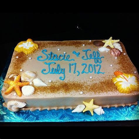 Beach themed shower sheet cake, edible pearls and sugar