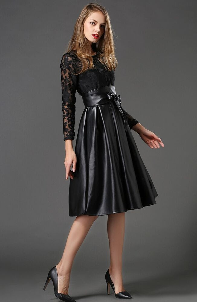 embroidery lace faux leather swing tutu party dress plus