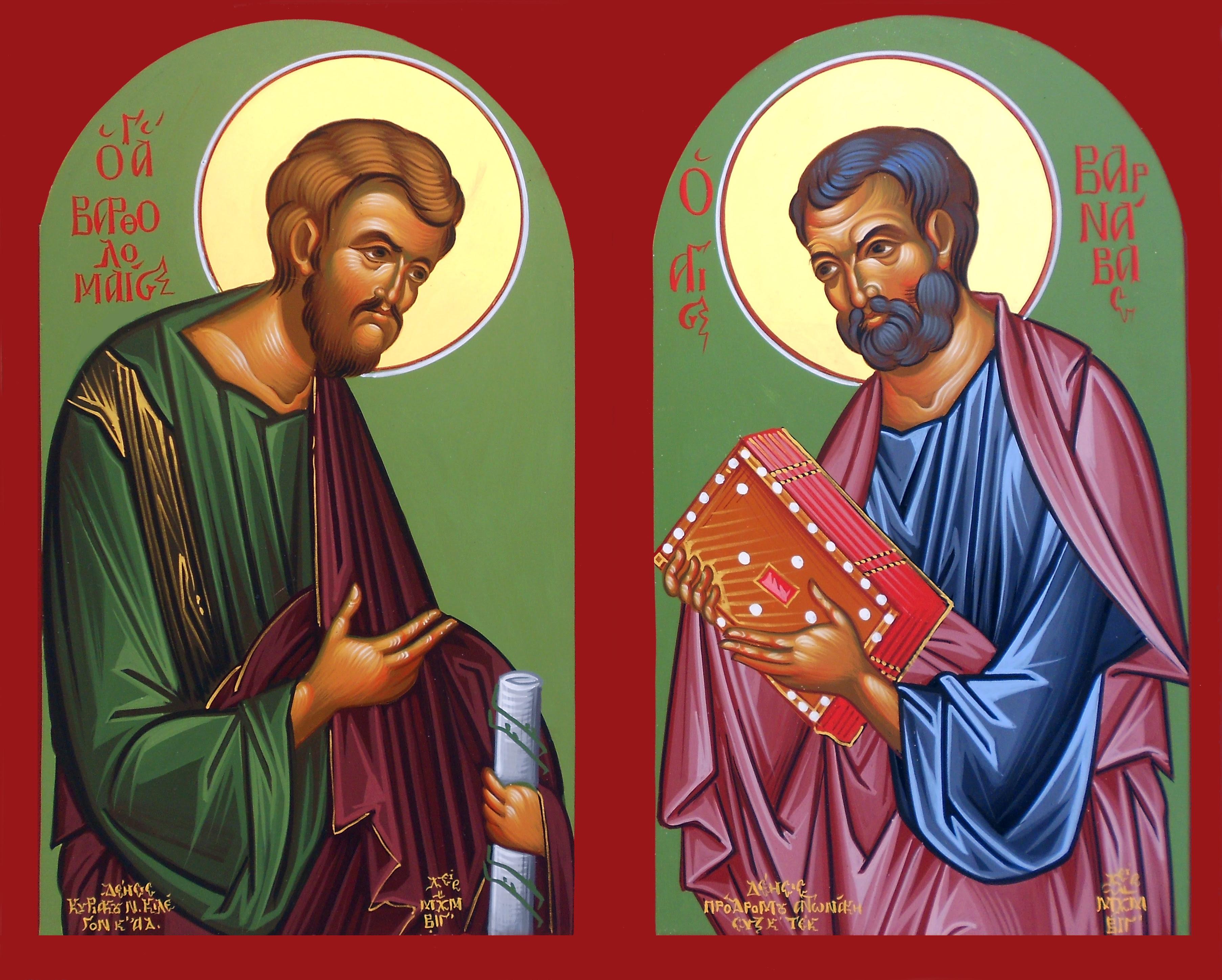 Αποτέλεσμα εικόνας για Απόστολοι Βαρθολομαίος και Βαρνάβας