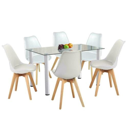 Mobel Glass Dining Table And 4 Chairs Set White 6 Seater Dining Room Kitchen Furniture Mobel Wohnen Elin Pens Ac Id