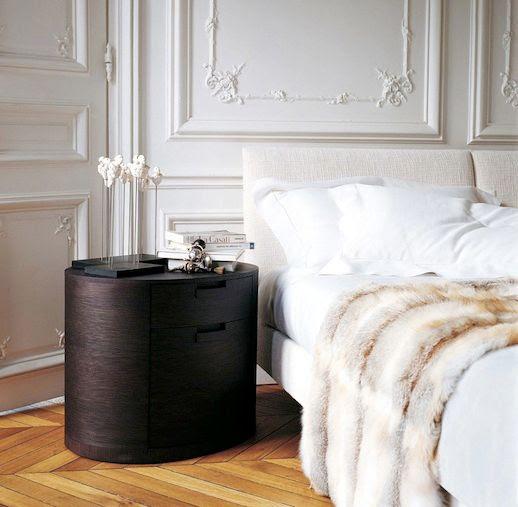 Le Fashion 5 Things Parisian Apartment Bedroom White Sheets Linen Neutral Tan White Fur Throw Blanket Linen Headboard Bed Frame Dark Wood Round Nightstand Chevron Wood Floors Maxalto 2 photo Le-Fashion-5-Things-Parisian-Apartment-Chevron-Wood-Floors-Maxalto-2.jpg
