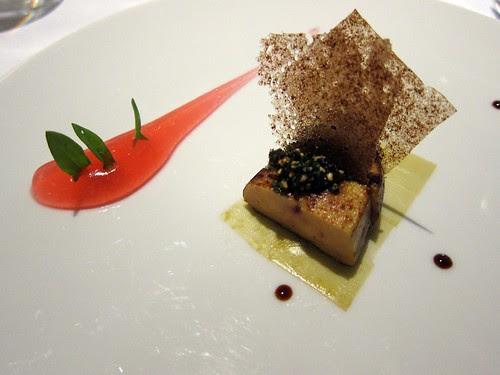 Roast foie gras and rhubarb