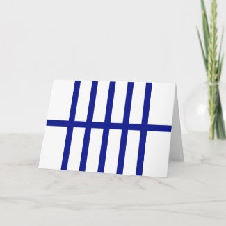 5 Bisected Blue Lines Greeting Card