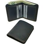 Walleteras Black Crazy Horse Leather Bi Fold Wallet - Cowboy Wallet Vertical Style / Black
