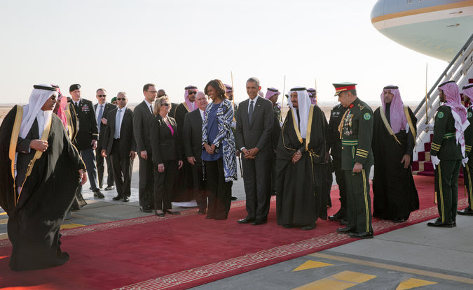 Obama arrives to pay respects to Saudi royals