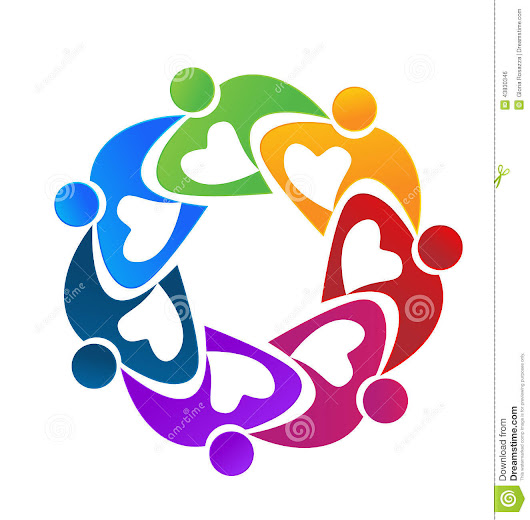 Teamwork colorful people working together logo