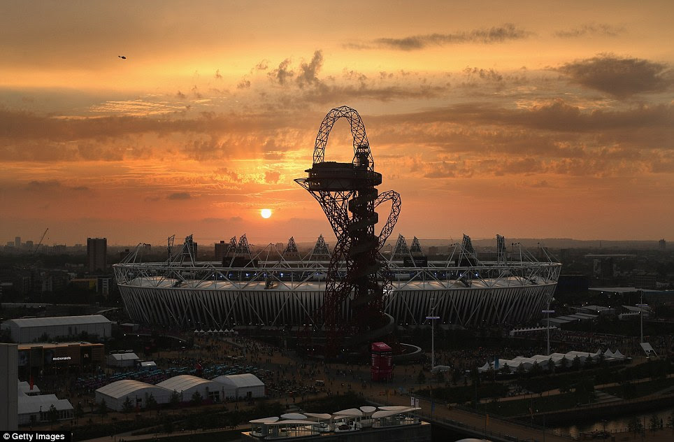 Golden Days: A spectacular sunset over the Olympic Stadium and the Orbit sculpture brings to an end 12 days of remarkable Paralympic competition in Stratford