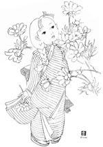 コスモス 昭和レトロな塗り絵 昭和レトロなおしゃれぬり絵無料テンプレート