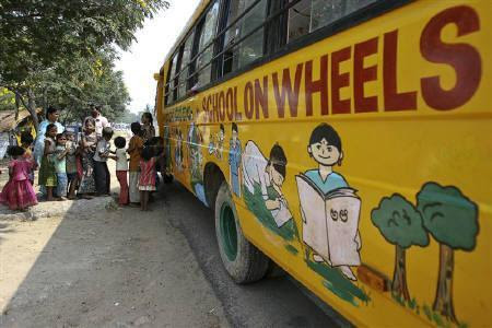 School on a bus brings classes to Hyderabad slums (click-through for full story)