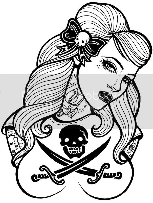 Pretty Girl With Pirate and Skull Tattoo Design